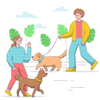 Persone che portano a spasso il cane