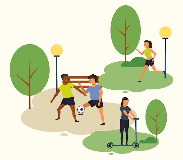 Persone che praticano sport al parco
