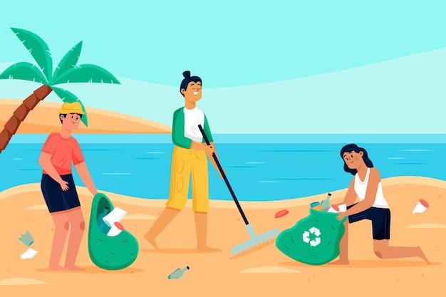 Persone che puliscono il concetto di spiaggia