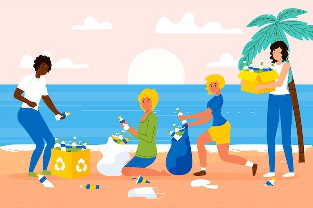 Persone che puliscono la spiaggia dei rifiuti