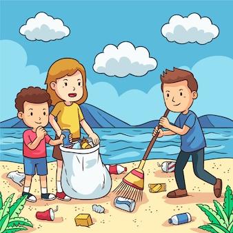 Persone che puliscono la spiaggia