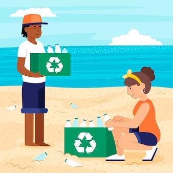 Persone che raccolgono bottiglie sulla spiaggia