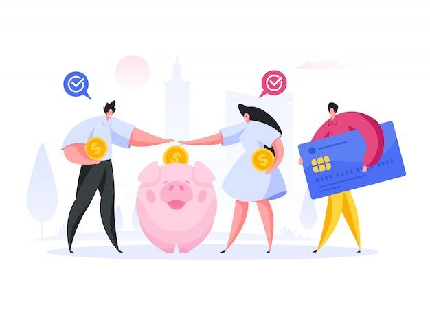Persone che risparmiano denaro per il progetto. illustrazione