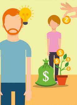 Persone che risparmiano denaro