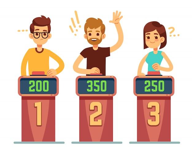 Persone che rispondono alle domande e premono i pulsanti sullo spettacolo di quiz. concetto di vettore di concorrenza gioco di enigma. illustrazione della gara di gioco, quiz intelligente