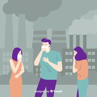 Persone che soffrono di contaminazione sfondo piatto