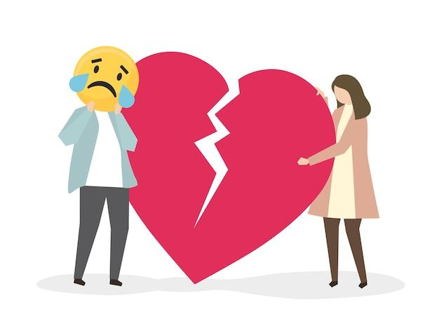 Persone che soffrono di crepacuore e tristezza