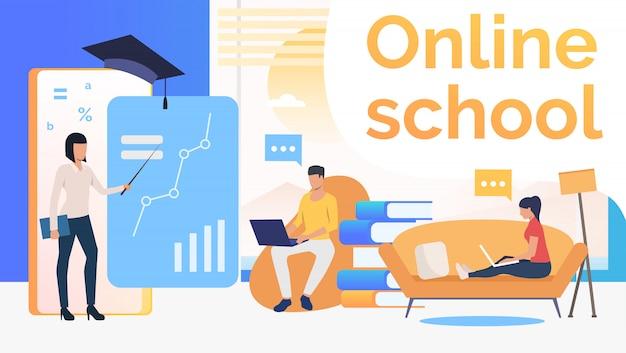 Persone che studiano a scuola online, interni domestici e insegnanti