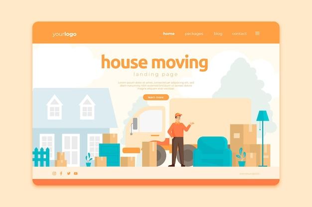 Persone che trasportano la pagina di destinazione dei servizi di trasloco di case mobili