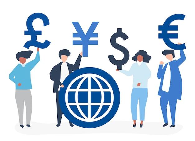 Persone che trasportano segno di valuta diversa