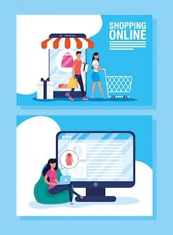 Persone che usano la tecnologia dello shopping online