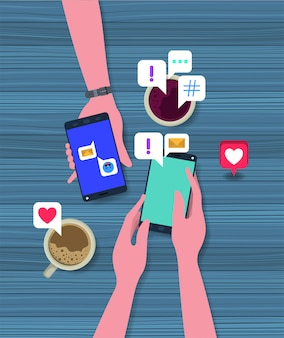 Persone che utilizzano smartphone con tazza di caffè e icone sociali