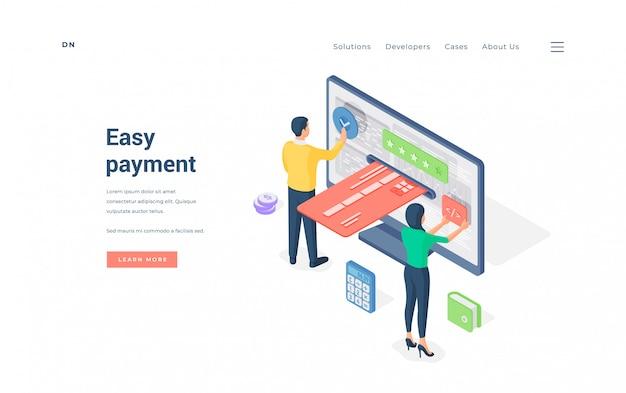 Persone che utilizzano un semplice servizio di pagamento online. illustrazione