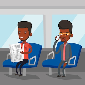 Persone che viaggiano con i mezzi pubblici.