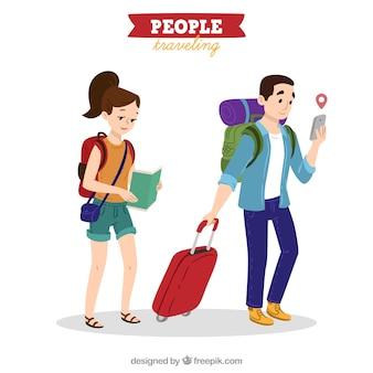 Persone che viaggiano in mano disegnato stile