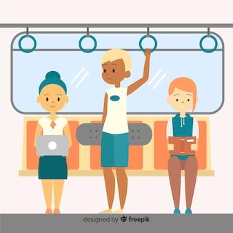 Persone che viaggiano in metropolitana
