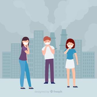 Persone che vivono in una città piena di inquinamento