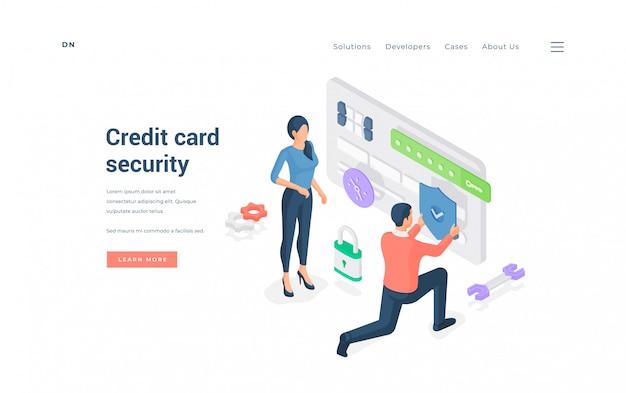 Persone con carta di credito protetta. illustrazione