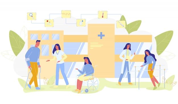 Persone con disabilità in rehab flat cartoon