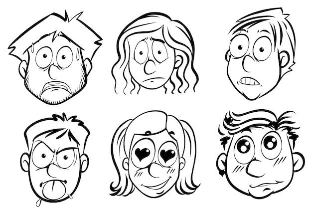 Persone con diverse espressioni facciali