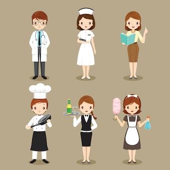 Persone con diverse professioni impostate