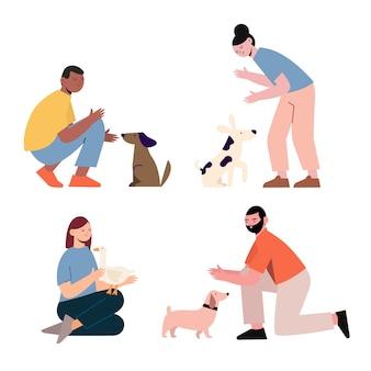 Persone con diversi animali domestici illustrazione