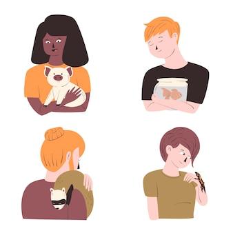 Persone con diversi animali domestici impostati