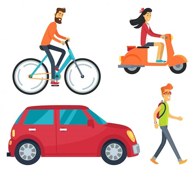 Persone con icone di trasporto