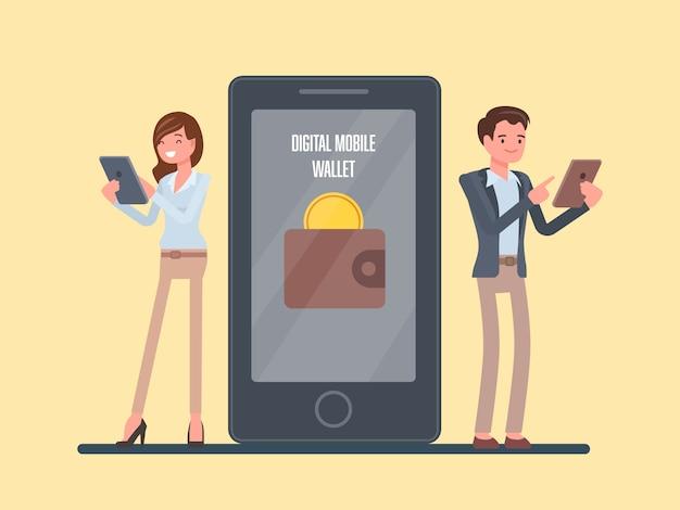 Persone con il concetto di portafoglio mobile digitale