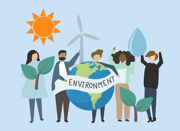 Persone con illustrazione delle risorse energetiche rinnovabili
