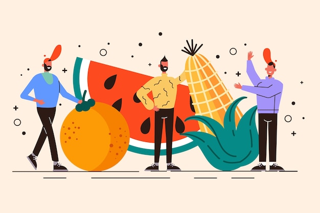 Persone con illustrazione di cibo