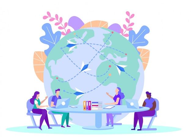 Persone con informazioni sulla fonte sul globo. insegnamento a distanza. e-learning. formazione online. la gente si siede al tavolo con i computer portatili.