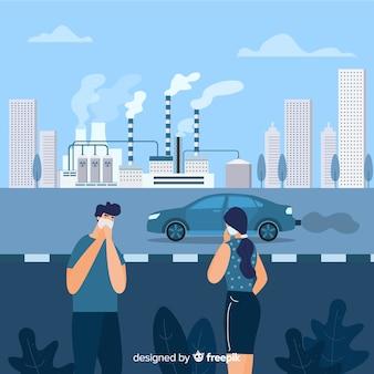 Persone con maschera in una città industriale