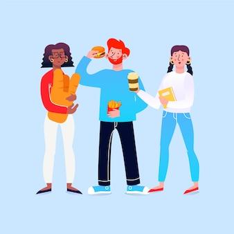 Persone con pacchetto di illustrazioni di cibo