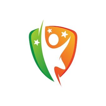 Persone con scudo logo design