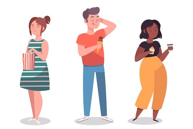 Persone con set di illustrazione di cibo