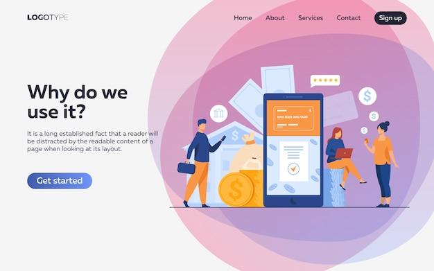 Persone con smartphone che utilizzano l'app di mobile banking