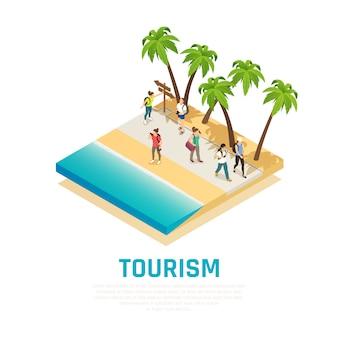 Persone con zaini durante il viaggio lungo la riva del mare con composizione isometrica di palme