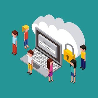 Persone creative processo computer password cloud
