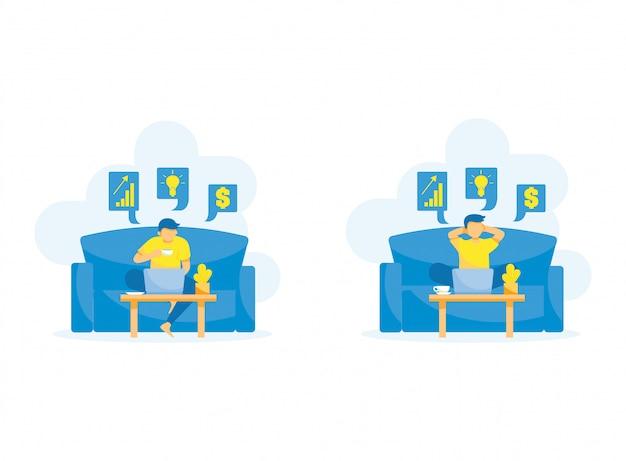 Persone dei cartoni animati in attività di lavoro lungo divano da casa illustrazione