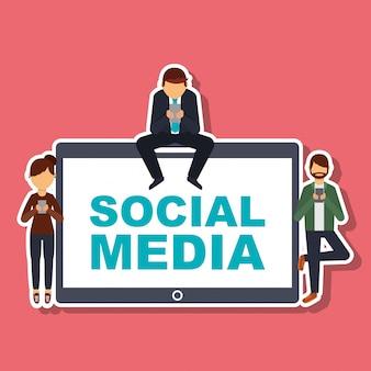 Persone dei social media con tecnologia di telefonia mobile