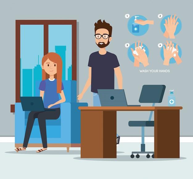 Persone di affari all'ufficio e disinfettante delle mani