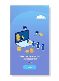Persone di affari che trasportano denaro applicazione online schermo del computer portatile trasferimento di denaro lavoro di squadra crescita ricchezza concetto pagamento elettronico