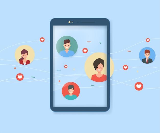 Persone di comunicazione mobile e social media.