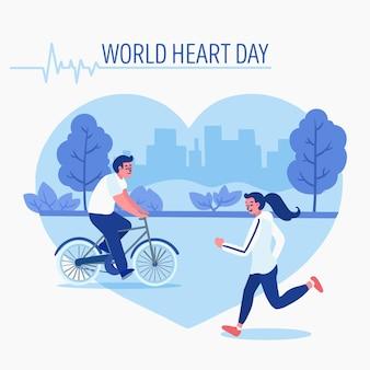 Persone di giornata mondiale del cuore che corrono nel parco