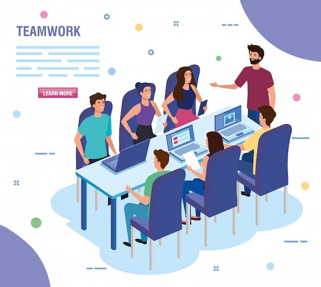 Persone di lavoro di squadra nella riunione modello di carattere avatar