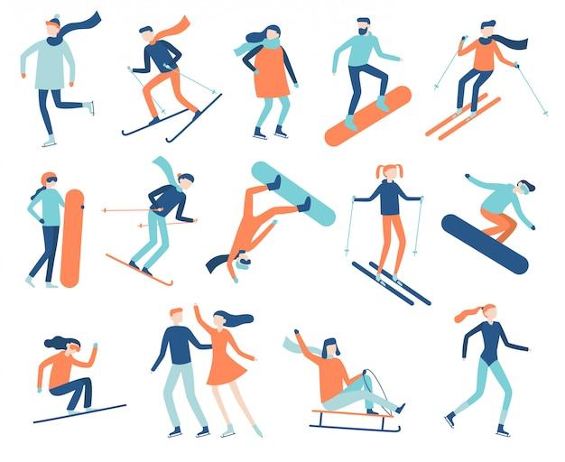 Persone di sport invernali. sportivo su snowboard, sci o pattini da ghiaccio. insieme di vettore piatto isolato sport snowboard, sci e pattinaggio