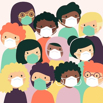 Persone di tutte le nazionalità che indossano maschere