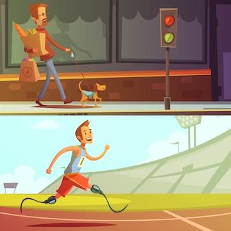 Persone disabili uomo cieco con cane e corridore