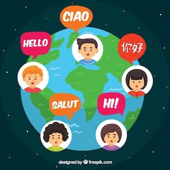 Persone disegnate a mano che parlano lingue diverse